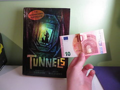 Thrift Store Surprise! (Pookie_Monster) Tags: 10 euro note found book called tunnels thrift store what luck