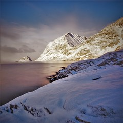 Vik in the morning light (Rudi Verspoor) Tags: light morning goexplore goodmorning norway water sky clouds sea seascape seaside february snow cold winter mountains mountainscape mountain nikon sigma
