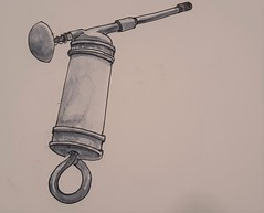 Lubrigun (ianulimac) Tags: watercolor drawing draw paint doodle scribble art ianmacdonald crookedpinkiesart old tools shoulderplane blockplane lubrigun drill oldtimey
