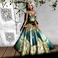 irrISIStible : DUST SPRING MESH DRESS FULL OUTFIT + HAIRS (daneensands) Tags: dust spring gown dress mesh women woman outfit accessories clothes template silk lace victorian romantic marquise collar necklace bangle hairs headpiece maitreya sofia belleza hourglass slink flower fantasy