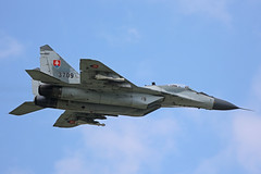 3709 Mikoyan-Gurevich Mig-29AS Slovakian Air Force Flypast Sliac 01st September 2018 (michael_hibbins) Tags: 3709 mikoyangurevich mig29as slovakian air force with parachute sliac 01st september 2018 aeroplane aviation aerospace aircraft airplane aero airfields airport airports military defence strategic tactical fighter bomber multiengined multirole jet jets afterburner afterburners plane planes