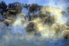 Icy River 冰河 (MelindaChan ^..^) Tags: innermongolia china 内蒙古 icy river tree steam sun shine plant nature chanmelmel mel melinda melindachan 冰河 冰 河 snow white 雪 bashang 壩上