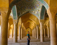 Surrounded by columns (borna.shafiei) Tags: mosque column shiraz iran history ancient people