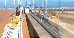 Sur la digue d'Ostende, Belgium (claude lina) Tags: claudelina belgium belgique belgië ostende mer sea plage beach merdunord noordzee sable cabine banc bench reflets reflections