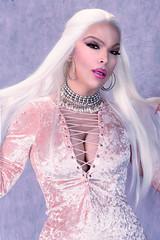 Glamour portrait in pink (Juliapanther Over 66 million views, thanks!!!) Tags: julia panther juliapanther posing choker pink velvet velour dress lace corset tgirl model makeup makeover lips lipstick sensual pinup blond blonde beauty rhinestones pantyhose nylon glamour mini dressing portrait
