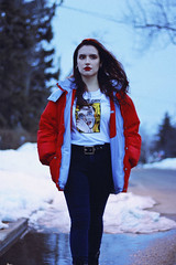 Don't Cry (TheJennire) Tags: photography fotografia foto photo canon camera camara colours colores cores light luz young tumblr indie teen adolescentcontent 50mm jacket 2019 toronto canada people portrait forever21 red winter cold snow ootd outfit retro
