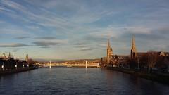 River Ness, Inverness, Dec 2018 (allanmaciver) Tags: river ness inverness capital highlands scotland spires water bridge high tide sun low winter sky skies allanmaciver