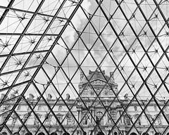 Louvre (Black and White) (Melanie Alexandra Photography) Tags: louvre paris france french blackandwhite monochrome architecture pyramid palace geometric