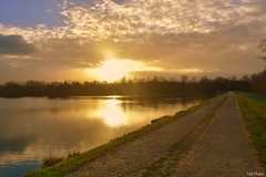 Sunset (Vak Photos) Tags: lake pond water reflections sunset clouds sky path footpath nature scenery