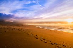 Wish you were here (Hanna Tor) Tags: nature landscape sea ocean beach shore shoreline sand color colorful clouds sky blue sunset sun sunshine tranquility empty hannator california