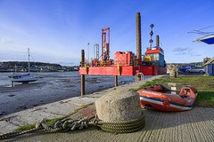 Rope, rig and rib (Photos taken with Sony mirrorless cameras) Tags: penrhyn harbour quay bollard mooring piles wales coast rope boat
