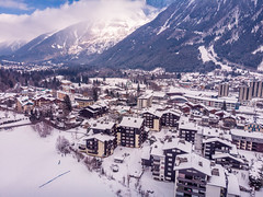 The Chamonix-Mont-Blanc town (Wolfhowl) Tags: france skiing landscape winter chamonixmontblanc mountains city cityscape франція birdeye snow january drone architecture travel buildings town savoy шамоні rhonealpes closdusavoy europe chamonix 2019