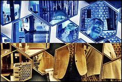 Once upon a time in a store (Bob R.L. Evans) Tags: composition ipadphotography neodada abstract bluetone invert hexagons irreverent unusual triangles pattern repetition couple symmetry