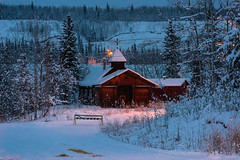 _ROS2562-Enhanced-Edit-2.jpg (Roshine Photography) Tags: yukonquest pellycrossing yukon canada ca earlymorning checkpoint stjamesthelordsbrotherchurch mountain snow wood building church