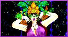 Mardi Gras Close Up (Kara Blossom) Tags: ebody curvy woman femme carnaval carnival mardi gras party genus secondlife sl mask closeup portrait red hair redhead heterochromatic beusy olivia freckles