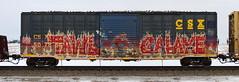 Tawl/Galaxe (quiet-silence) Tags: graffiti graff freight fr8 train railroad railcar art tawl galaxe fb lords e2e endtoend csx boxcar waffle csxt507854