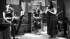 Event Horizon March 2019 014 (byronv2) Tags: music musician woman women makeup stage band krow krowandtheelectrictemple goth gothic punk electro blackandwhite blackwhite bw monochrome dance shorelineofinfinity eventhorizon edinburgh edimbourg scotland frankensteins georgeivbridge