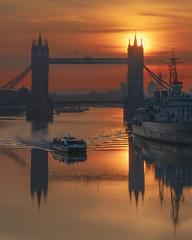 Sun Boat (JH Images.co.uk) Tags: london towerbridge bridge tower sun sunrise boat reflection hms hmsbelfast riverthames thames river dri hdr clouds water