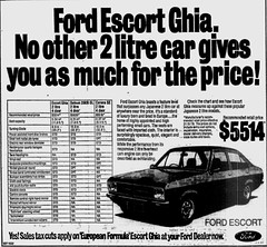 Sept1978No16 (mat78au) Tags: sept 1978 melbourne newspaper extracts ford escort mk2 ghia melb 78 specs ad