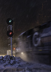 Fire & Ice (Thomas Coulombe) Tags: guilfordrailsystem guilford emdgp40 gp40 panamrailways panam wapo freighttrain train snow searchlights signals oakland maine