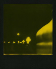Yellow Super Moon (tobysx70) Tags: the impossible project tip polaroid slr680 frankenroid sx70 door rollers red black blackandred duochrome film for 600 type cameras instant blackframe impossaroid yellow supermoon suicide bridge coloradostreetbridge colorado blvd boulevard route 66 rt rte pasadena california ca full moon night nocturnal streetlights streetlamps lit illuminated curve bokeh digitally manipulated toby hancock photography