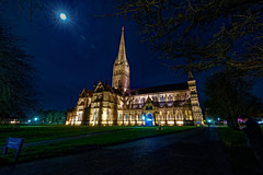 Salisbury Cathedral under moon light (cantdoworse) Tags: salisbury cathedral longexposure winter moon sony a7riii landscape wiltshire england night