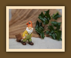 Gnome working (N.the.Kudzu) Tags: tabletop stilllife miniature resin gnome figurine cheese cloth holly foliage canoneosm lensbabytrio28 lightroom photoscape frame