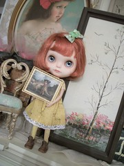 """""""Artwork""""..... (simplychictiques) Tags: meimeicustomblythe ooakcustomblythe freckles heartbeautymark redhairs blythewithredhairs mabgravesminiaturepainting whimsical vintageitems antiques yellowdress fringecut spokanewashington dollphotography childlike noelle"""
