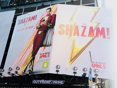 Shazam The Big Red Cheese Billboard 42nd St NYC 3766 (Brechtbug) Tags: shazam billboard 42nd street new captain marvel the big red cheese poster ad nyc 2019 times square movie billboards york city work working worker paint painting advertisement dc comic comics hero superhero alien dark knight bat adventure national periodicals publication book character near broadway shield s insignia blue forty second st fortysecond 03142019 lightning flight flying march