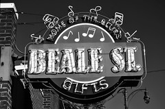 Beale Street -- Memphis, Tennessee (forestforthetress) Tags: unlimitedphotos bealestreet blues bluesmusic memphis sign monochrome bw blackandwhite letters message omot nikon music culture thesouth