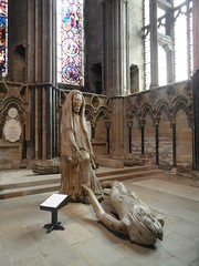 Durham Cathedral Pieta (Nekoglyph) Tags: durham cathedral stainedglass window bright sculpture beech wood brass mary jesus pieta fenwicklawson crucifixion columns stone christ