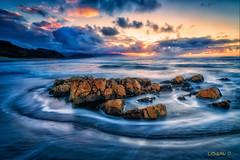 Circled. (darklogan1) Tags: seascape rocks asturias spain clouds dreamy sea sony ilce7rm3 1635mm gm longexposure logan darklogan1 serene orange blue sonyilce7rm3 waves circle sonyfe1635mmf28gm sunset