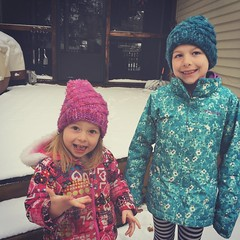 Mornings With The Munchkins (matthewkaz) Tags: madeleine norah daughter daughters child children sisters hat hats snow spring home house burcham eastlansing michigan 2019