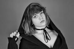 Hooded beauty (piotr_szymanek) Tags: michanlina woman young face portrait studio blackandwhite eyesoncamera hood hand 1k 20f 5k 10k 50f 20k