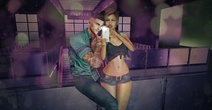 Selfie Selfie (sotwinkling) Tags: man woman boy girl couple sexy belly second life sl secondlife 3d virtual jeans teal top crop purple black dragon phone iphone selfie self cute kawaii
