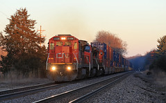 Trio of Dash 8's (GLC 392) Tags: cn c408 canadian national c408w illinois central 2461 2142 2109 pine lake road battle creek mi michigan sunset sun set last light q148 railroad railway train