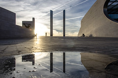 Champalimaud Foundation (TeylorDelight) Tags: water reflex champalimaud architecture sunset backlight sky monument orange skyporn sillouettes shadows blue