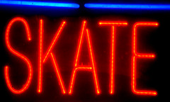December 23: Skate (earthdog) Tags: 2018 nikon d5600 nikond5600 18300mmf3563 sanjose walkingdistance word text sign window neon project365 3652018