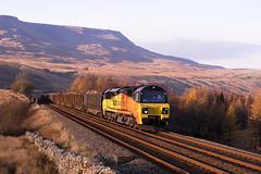 Last light on 6J37 (stevenjcrozier) Tags: 70813 colas 6j37 ais gill logs chirk carlisle settle train climb last light