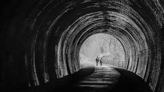 Textures - Rusher Cutting Tunnel #2 (gavsidey) Tags: derbyshire tunnels tunnel rushercutting monsal trail ngc d500 brickwork bricks arch archway black white bw textures people