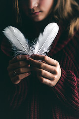 (Rebecca812) Tags: girl conceptual feathers identity canon people fineart artisticphotography phtography sweater hands holding crop rebeccanelson rebecca812