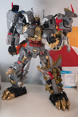 DSC_9090 (Quantum Stalker) Tags: transformers takara hasbro power primes dinobots volcanicus transform dreamwave tdw upgrade kit thigh claws gold primal qc average sword weapons