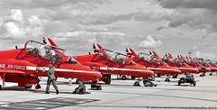 Red Arrow line up. (JoannaContrerasPhotography.) Tags: redarrows jets norwich preflightcheck norwichinterbationalairport august2018 nikond810 aerobaticteam