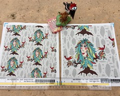 """Bohemian Boho Tree, Leaves and Feather Fantasy Woman Dryad Goddess"", large and small scale fabric test swatches. Original artwork hand drawn by me digitally. (sassyone2013) Tags: amygale goddess dryad woodland tree trees birds forest bohemian boho hippie gypsy nature textiledesign textileart fabricdesign quirky handdrawn illustration drawing female fabric women woman digitalart fantasyart feminine girl girls leaves feathers anthropomorphic spoonflower amygdesigns designsbyamyg beige gray grey khaki green brown taupe oatmeal whimsical noveltyfabric"
