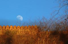 Guardian moon (Debmalya Mukherjee) Tags: debmalyamukherjee canon550d 18135 amerfort jaipur rajasthan moon fort