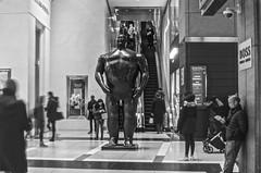 Adam  |  Botero Sculpture in Time Warner building at Columbus Circle (Capitancapitan) Tags: neury luciano botero columbus circle manhattan sculpture timewarnerbuildingatcolumbuscircle black white photography street
