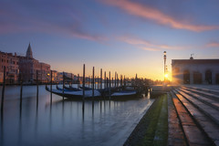 Venetian paths 156(Good morning Venice) (Maurizio Fecchio) Tags: venice venezia italy italia haida haidafiltersitalia morning lights sunrise longexposure city cityscape architecture church europe nikon d7100 reflections sky clouds gondola canal water