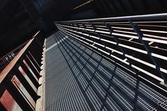Shadow lines (frankdorgathen) Tags: sonyrx100m3 sonyrx100iii industriekultur industry ruhrpott ruhrgebiet stoppenberg essen zechezollverein schatten shadow weitwinkel wideangle perspective perspektive geländer railing
