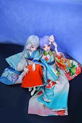 Thistle and Yurie: tall slim MSD size BJD kimono with handmade hair pins. (Bright Wish Kanzashi) Tags: yurie dollkimono handmadekimono bjdkimono 手作りドール着物 ドール着物 着物セット dreamingdollairi handmade tsumamikanzashi tsumamizaiku kanzashi hairflowers plumblossom cherryblossom dollchateau dollchateausharon dollchateaukid bjd