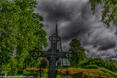 Skatval Kirke (A.Nilssen Photography) Tags: kirke norge skatval trøndelag norway church blackwhite cemetery churchyard graveyard skies clouds hdr stjørdal stjordal